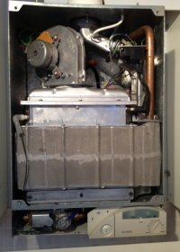 gas boiler servicing cover removed